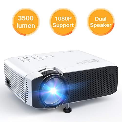 Apeman Beamer, Mini LCD tragbarer Beamer, 3500 Lumen, unterstützt 1080p Full HD, 50000 Stunden, Heimkino-Projektor, Kompatibel mit Fire Stick, PS4, Chromecast, HDMI / VGA / AV /, Weiß