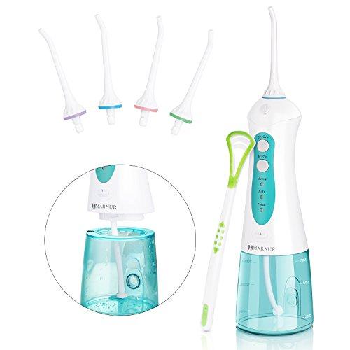 MARNUR Munddusche Elektrische Dentale Oral Irrigator Wasserreiniger kabellos USB wiederaufladbar tragbar mit 4 Düsen und 200ml Wassertank für Zahnpflege und Zahnreinigung