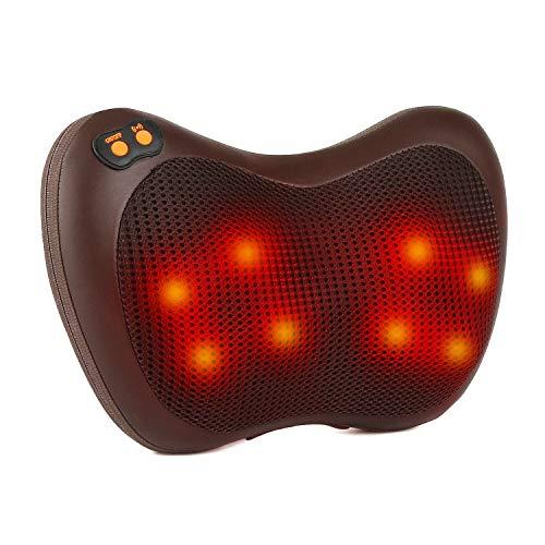Shiatsu-Massagegerät für Nacken, Schulter, Rücken, Taille und Muskelkater, Bidirektionales Knetendes Elektrisch Massagekissen mit 3D Wärmefunktion Massageköpfe, 3 Einstellbare Geschwindigkeiten