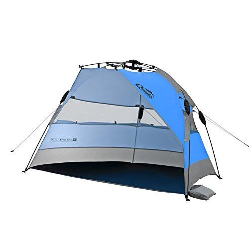 Qeedo Quick Bay Strandmuschel mit UV-Schutz und 360° Panorama View - blau