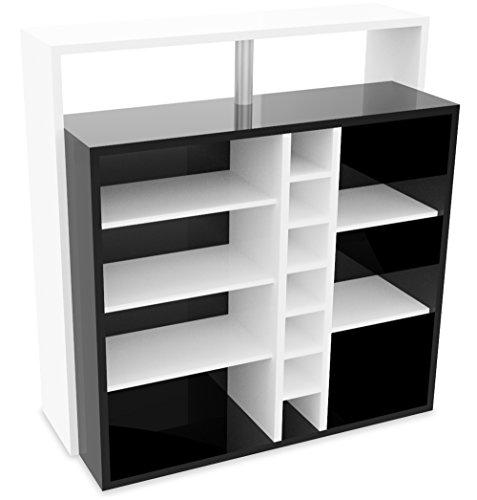 Demeyere Pianoi Bar-Einheit - 7 Nischen, Spanplatte, Weiß/Schwarz, 110.2 x 48.1 x 112.5 cm