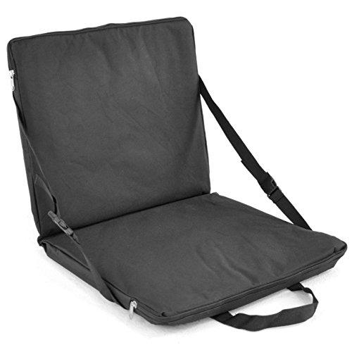 Nexos Sitzauflage Stadionkissen schwarz Polster 3cm Schaumstoffpolsterung Kissen 40x72cm Bodenkissen Doppelsitzkissen Klickverschluss faltbar