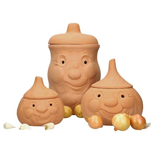 MamboCat 3tlg. Terrakotta-Töpfe Set Knoblauchtopf Knut + Zwiebeltopf Onni + Kartoffeltopf Karl | Vorrats-Dosen mit Deckel zur Aufbewahrung | 100% natural