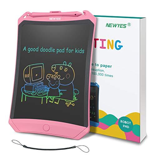 NEWYES Bunte LCD Schreibtafel 8,5' hellere Schrift mit Anti-Clearance Funktion und Dicke Linien,Magnete,String,Stift papierlos für Schreiben Malen Notizen Super als Geschenke (Rosa+bunt)