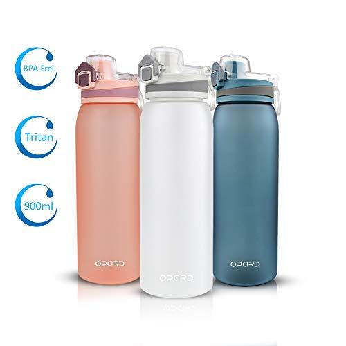 Opard Trinkflasche Sport - Wasserflasche 900ml- Sportflasche aus Tritan BPA Frei - ideale Sporttrinkflasche für Kinder, Sport, Fitness, Fahrrad, Fußball, Outdoor - Auslaufsicher, Blau (Weiß)