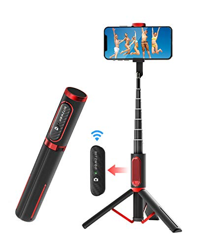 BlitzWolf Bluetooth Selfie Stick Stativ, Aluminium All-in-one Monopod Wireless Selfie-Stange Stab mit Bluetooth Fernbedienung für iPhone XS/Xs Max/XR/X/8/8P/7/7P/6S, Galaxy S10/9/8/7/6, Huawei, Mehr
