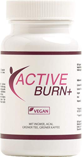 ACTIVE BURN + - VEGAN - Fatburner mit Acai Beere, Grüner Tee, Grüner Kaffee, Ingwer, 60 Kapseln