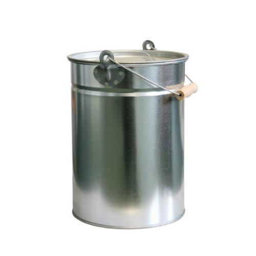 Zink-Ascheeimer mit Deckel - Kohleneimer klein - Kohleeimer verzinkt - Zinkeimer / Asche-Mülleimer als Kamin-Zubehör, für den Grill & für Kohlen Kleiner, runder Ascheeimer aus Zink, 14l