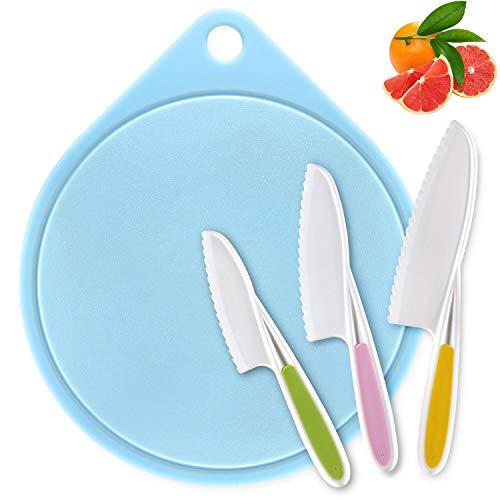 Joyoldelf Kinder Kochmesser und Schneidebrett Set, 3 Größen Kunststoffgriff Küchenmesser, Ideal zum Schneiden von Brot und Salat