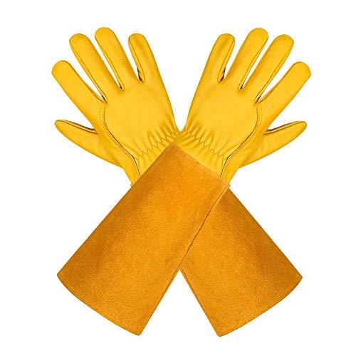 Gartenhandschuhe Für Damen und Herren - Isilila Rosen Leder Langen Rindsleder Handschuhe dornensichere Thorn Proof Atmungsaktiv & Haltbarkeit Gauntlet Handschuhe