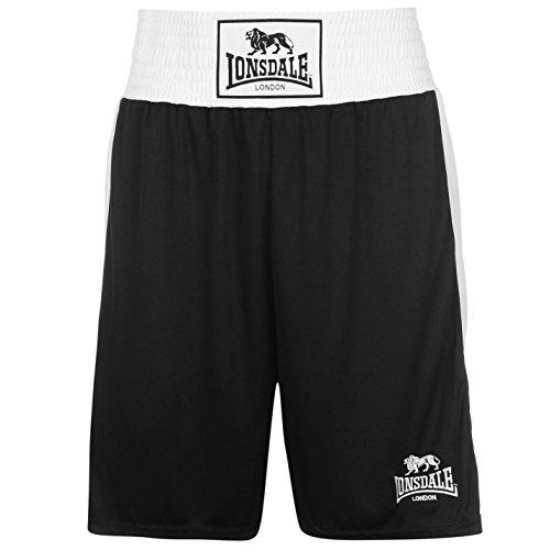 Lonsdale Herren Boxing Shorts Trainingshose Boxen Sporthose Kurze Hose Schwarz Medium