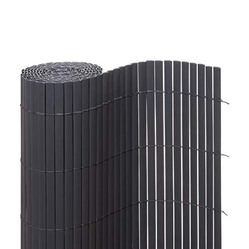 Ventanara Sichtschutzmatte PVC Sichtschutzzaun Sichtschutz Windschutz für Garten Balkon Terrasse (120 x 500 cm, Grau)