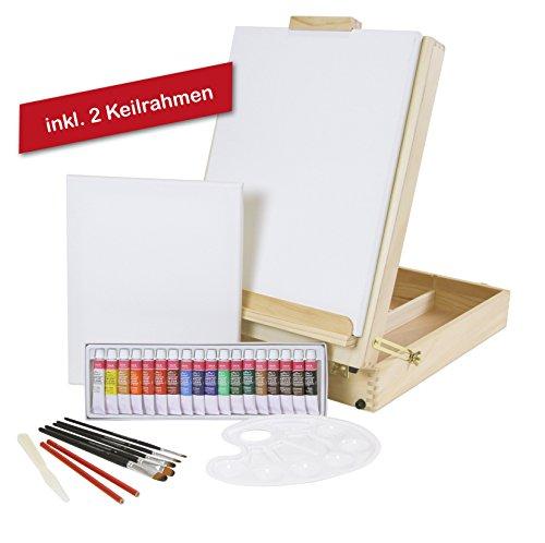 "XL-TISCHSTAFFELEI + MALSET ""Riva"" 35-teilig mit Acrylfarben, Pinselset + Keilrahmen, Utensilienkoffer, Kofferstaffelei"