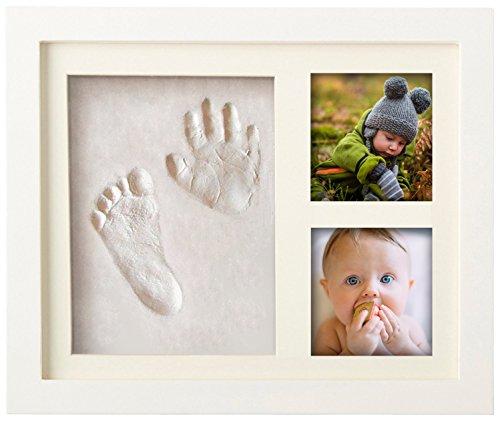 PREMIUM BABY HAND & FUßABDRUCK SET zum selber machen | mit Echtholz Bilderrahmen, Acrylglas & Platzhalter für 2 Babyfotos | Perfekte Geschenkidee für Kleinkinder, Mütter und Väter |100% schadstofffrei