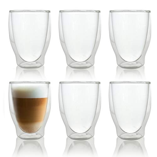 Caffé Italia Milano 6 x 250 ml Doppelwandige Gläser - Thermogläser für Cappuccino Tee Heiß- und Kaltgetränke - spülmaschinengeeignet