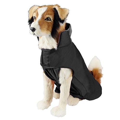 SymbolLife Hundemantel aus 100% Wasserdicht Nylon Fleece Futter Jacke Reflektierende Hundejacke Warm Hundemantel Climate Changer Fleece Jacke einfaches An- und Ausziehen(M Schwarz) Neu
