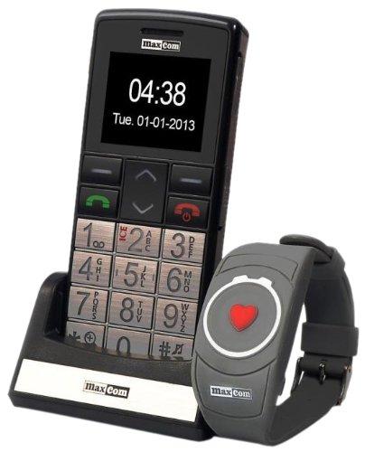 Maxcom MM 715 Großtasten Handy mit Notrufarmband (4,5 cm (1,8 Zoll) Farbdisplay, großes Telefonbuch (300), FM Radio, 1,3 Megapixel Kamera, WAP, Bluetooth) silber/schwarz