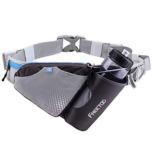 Freetoo Hüfttasche Gürteltasche Trinkgürtel mit Stabile Flaschenhalter und Persöliche Kapazität Design Verstellbar Hüfttasche für Jogging Outdoor Wandern Camping Radfahren Spazieren Leichtathletik