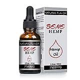 Hanföl-Tropfen, hochfester Hanfextrakt, Full Spectrum Extract Hanfsamenöl, ideal für Angst Schmerzlinderung Schlafunterstützung (7500mg)