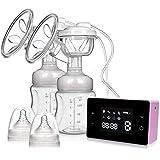 Elektrische Milchpumpe Doppelsauger Elektrische Stillpumpe mit LCD Smart Touchscreen, Massage Modus und Brustwarzen Korrektur modus