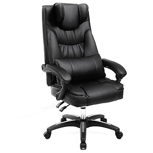 Erstellt von Songmics, Luxus Bürostuhl mit klappbarer Kopfstütze extra großer orthopädischer Chefsessel ergonomischer Schreibtischstuhl schwarz OBG76B