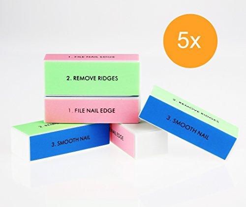 Nagelpolierblock, Nagelblock, Buffer – Profi Polierblock für die Nägel mit 4 Feil- und Polierflächen, Maniküre für gepflegte und schöne Fingernägel – im praktischen Set (5x)