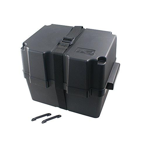 Batteriebox | Batteriekasten für AGM und GEL Batterien bis 80 Amperestunden | mit Gurt | aus schwarzem, säurebeständigem und bruchfestem Kunstoff
