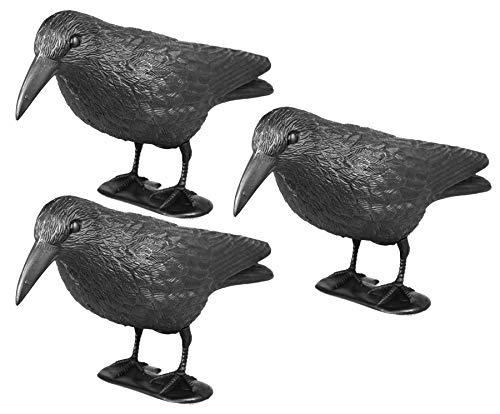 mgc24 Taubenschreck Rabe Lummy - Abwehr von Tauben, Möwen, Kleinvögeln - 3 Stück