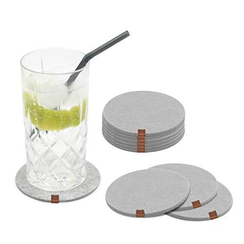 Miqio Design Glasuntersetzer - Filz und Leder - Waschbar - 10er Set mit Echtleder Applikation