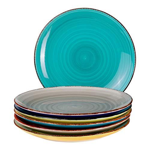 6-TLG. Speisetellerset Malaga Bunte Servier-Teller handbemalt zweifarbig Ø 27cm Essteller Rundteller flach Porzellan-Geschirr Buffet-Platten Bicolor