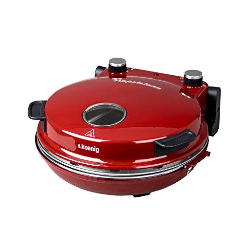 H.Koenig NAPL350 Pizzaofen, Pizza Durchmesser 32 cm, 350 Grad C, Keramik Steinplatte, Rot