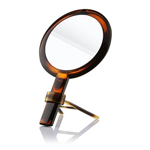 Doppelseitiger Handspiegel mit Griff Beautifive Schminkspiegel Kosmetikspiegel Spiegel mit 1x / 7x Vergrößerung Tischspiegel für Make Up Vintage Elegante Bernsteinfarbe