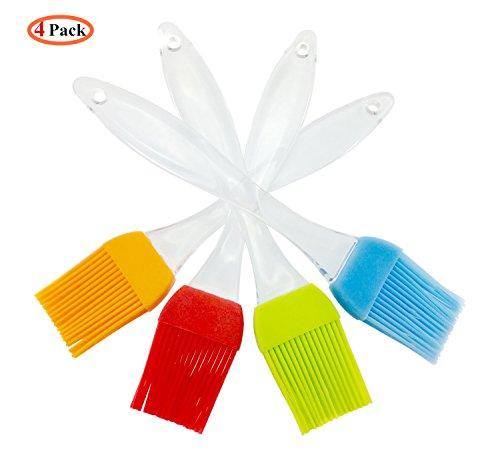 iNeibo Kitchen Silikon backpinsel/grillpinsel- BBQ Barbecue Pinsel hitzebeständig- 4er set küchen pinsel mit kristall griff- bratpinsel flexibel,langlebig mit 4 verschiedenen Farben
