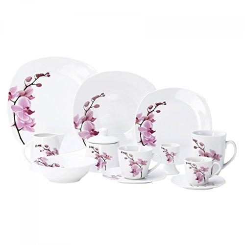 Kombiservice 62tlg. Kyoto Orchidee leicht eckig Porzellan für 6 Personen weiß mit Dekor