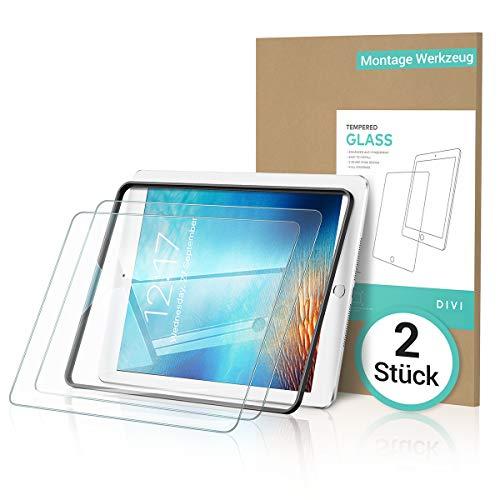 DIVI [2 Stück Panzerglas für iPad 2018 / iPad 2017 / iPad 9.7 6.Generation [Montage Werkzeug] Schutzfolie kompatibel mit iPad Air 2 / iPad Pro 9.7 Zoll, Gehärtetem Glas Folie für Apple Pencil