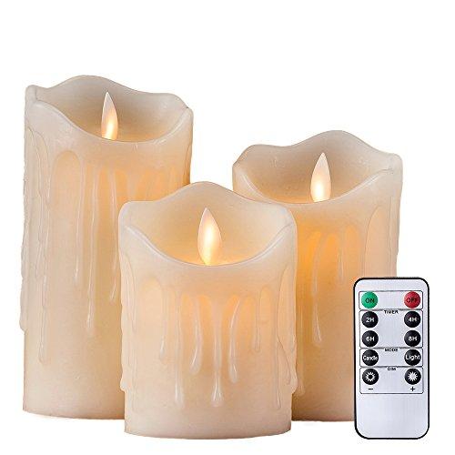 Air Zuker 3er LED Flammenlose Kerzen Tropfenförmige batteriebetriebene Kerzen Säule Echtwachskerzen mit Timer und 10 Tasten Fernbedienung, höhe 4 '5' 6 ' für Dekorations zB. Party, Hochzeit, Tisch