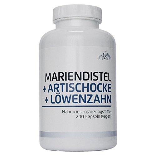 Bergen Mariendistel Artischocke Löwenzahn - Leber Komplex Hochdosiert mit 80% Silymarin. 200 Vegane Kapseln ohne Zusatzstoffe