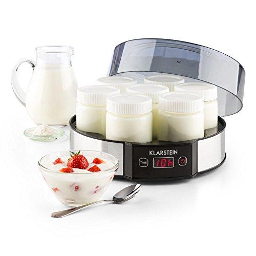 Klarstein Milchstraße • Joghurtbereiter • Joghurt-Maker • einfache Bedienung • leicht zu reinigen • 7 x 190 ml • Geschmacksecht • Glasbehälter mit Schraubdeckel • einstellbarer Timer 14h • automatische Abschaltung • Gehäuse aus Edelstahl • silber