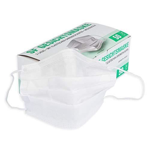 Mundschutz Maske mit elastischen Ohrschlaufen weiß 3-lagig, ohne Gurtband, 50 Stück Box