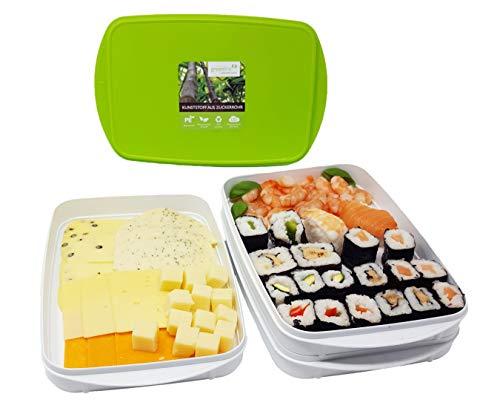Greenline Frischhalte-Stapelbox Natürlicher Bio-Kunststoff aus Zuckerrohr 4er Set 4 x 0,9 l und 2 Deckel ideal als Aufschnitt-Box zum Servieren BPA-frei Spülmaschinenfest