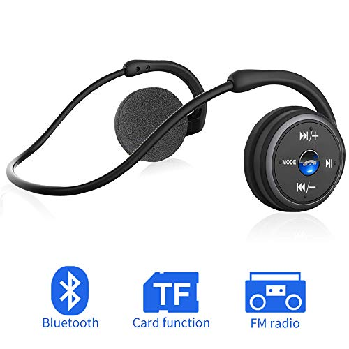 Sport Kopfhörer Bluetooth On-Ear Earphones, CVC 6.0 Cancellation mit Clear Voice Mikrofon Unterstützung FM Radio TF-Karte (32G) Faltbarer Kabelloser Ohrhörer für Sport, Riding, Running, Gym-Schwarz
