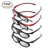 BOBLOV 4 Stücke Familie Active Shutter 3D Brille DLP-Link Kompatibel mit Allen DLP Projektoren Für Eltern und Kinder (Familie Pack)