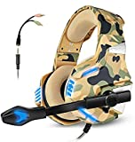 Gaming Headset mit Mikrofon für PS4 Xbox One Controller PC Switch Tablet Smartphone Camouflage Stereo Over-Ear Kopfhörer Bass Surround Noise Canceling Mikrofon LED Licht