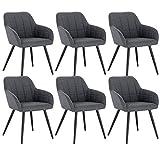 WOLTU 6 x Esszimmerstühle 6er Set Esszimmerstuhl Küchenstuhl Polsterstuhl Design Stuhl mit Armlehne, mit Sitzfläche aus Samt, Gestell aus Metall, Dunkelgrau, BH93dgr-6