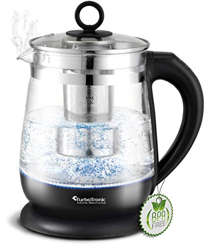 TurboTronic Glas Wasserkocher 100% plastikfrei, 1,5 Liter mit Edelstahl Kalkfilter, LED Beleuchtung und Temperaturwahl, BPA Free