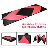 CCLIFE Rose+Schwarz Weichbodenmatte Turnmatte Klappbar Gymnastikmatte 180x80x5/240x120x5 cm