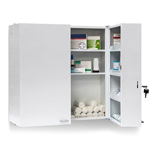 Relaxdays Medikamentenschrank Stahl XXL H x B x T: 53 x 53 x 20 cm mit 11 Ablagen für viel Stauraum und Tür zum Abschließen samt 2 Schlüsseln Medizinschrank in modernem Stil fürs Bad, weiß