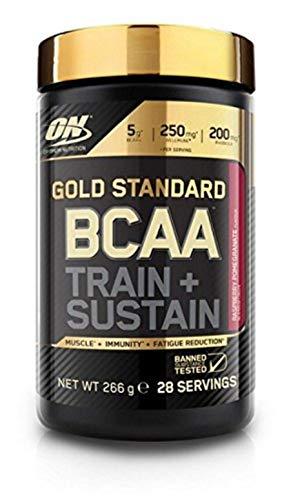 Optimum Nutrition Gold Standard BCAA- Verzweigtkettige Aminosäuren (mit Vitamin C, Wellmune, Rhodiola rosea und Elektrolyten, BCAA Pulver von ON) Raspberry und Pomegranate, 28 Portionen, 266g