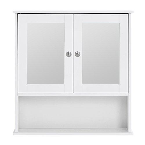 Songmics Spiegelschrank Badschrank Hängeschrank Spiegel mit Ablage Schminkschrank aus Holz 56 x 58 x 13 (B x H x T) cm weiß LHC002