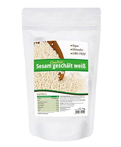 Mynatura Sesam weiß geschält, hohe Qualität ohne Gentechnik, 100% organisch und natürlich, vegan und glutenfrei - 1kg Beutel